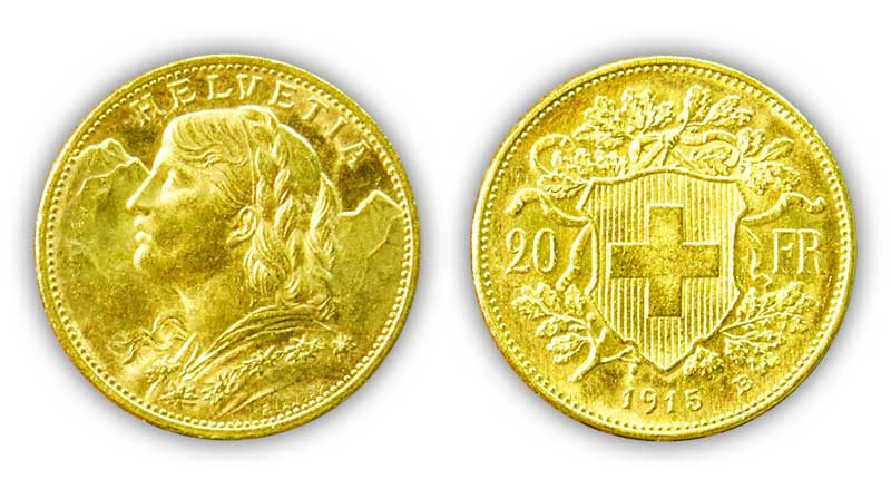 20 Swiss Francs GOLD - 1915