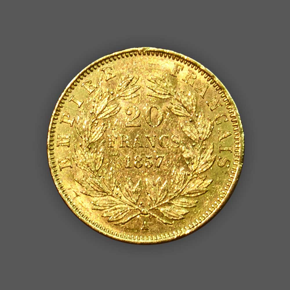 20 Francs Napoléon GOLD - 1857 back